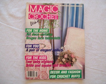 Magic Crochet Magazine, August 1990 issue 67 Vintage Crochet Pattern Book, Thread, Doilies, Doily Patterns, Thread Crochet patternss