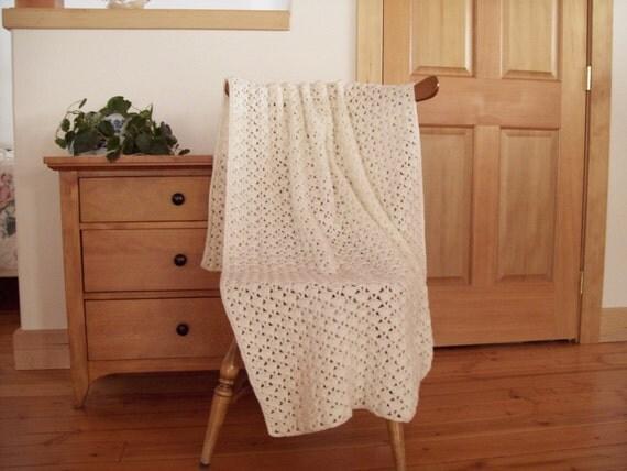 Crocheted Blanket, Winter white, 68x38, Afghan Blanket Lap Blanket, Throw Blanket, off white