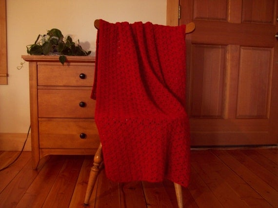 Crocheted Throw Blanket, Hand Crocheted Afghan Blanket, Berry Red, 57x39, Handmade, lap blanket, lap throw, lap afghan, Many colors in shop