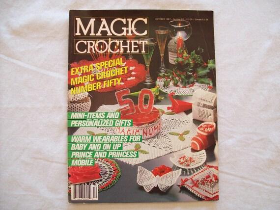 Magic Crochet Magazine, October 1987 issue 50 Vintage Crochet Pattern Book, Thread, Doilies, Doily Patterns, Thread Crochet patternss