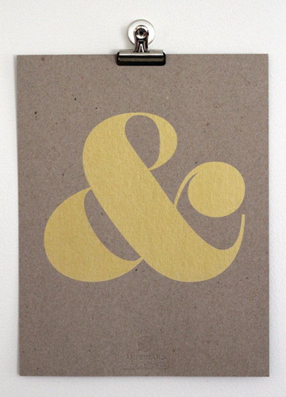 Ampersand Screen Print - Metallic Gold