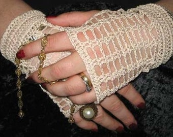 Crochet Lace Fingerless Gloves in Cream with vintage button closure  Steampunk Victorian