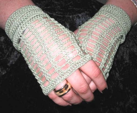 Crochet Lace Fingerless Gloves in Sage Green with Lampwork Glass Buttons Steampunk Victorian