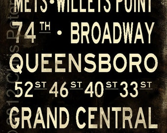 "Flushing New York Distressed Subway Sign Art Bus Scroll Photograph 20"" x 30"""
