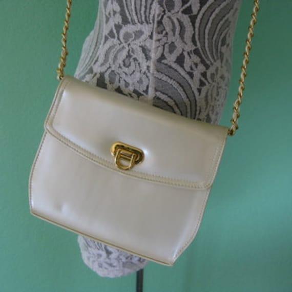 80s purse - cross body gold chain vintage cream box purse