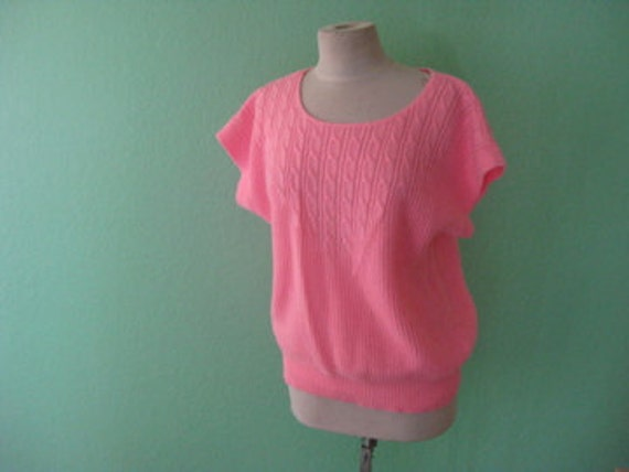 80s top - loose bright pink sweater blouse - size large