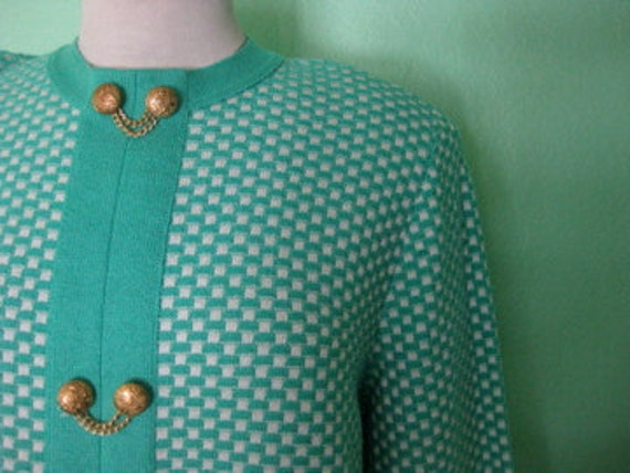 60s sweater - knit turquoise vintage sweater - size large