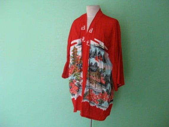 EVERYTHING TEN SALE bright red oriental kimono top