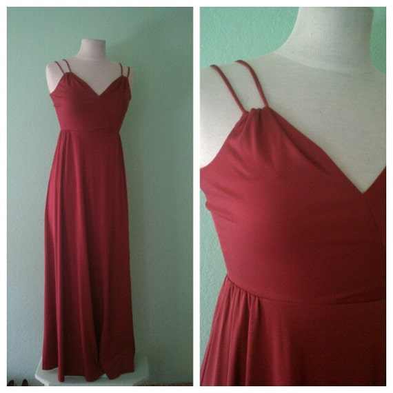EVERYTHING TEN SALE burgundy dreams vintage maxi sun dress small/s
