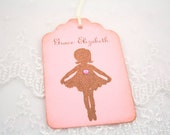 Ballerina Tags Baby Shower Birthday Favor Tags Personalized Name and Date Ballet Set of 10