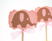 Pink Elephant Cupcake Toppers / Food Picks Baby Girl Shower Set of 10