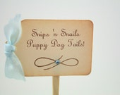 Boy Cupcake Toppers / Food Picks Snips 'n snails Puppy Dog Tails Baby Shower You Choose Ribbon Set of 10