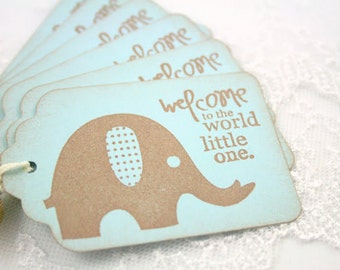 Elephant Tags Blue Baby Shower Favor Gift Tags Set of 10