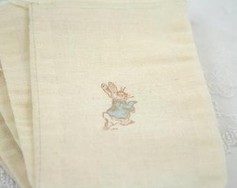 Peter Rabbit Muslin Drawstring Bags Favor Bags Stamped Vintage