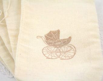 Muslin Drawstring Bags Muslin Favor Bags Baby Shower Carriage Set of 10