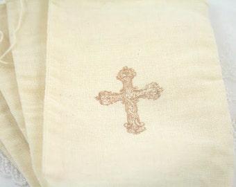 Cross Christening Muslin Drawstring Bags Baptism First Communion Favor Bags Set of 10