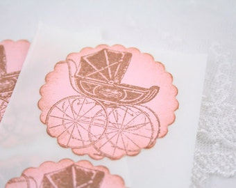 Pink Carriage Stickers Baby Shower Birthday Envelope Seals - Stamped Vintage Set of 10