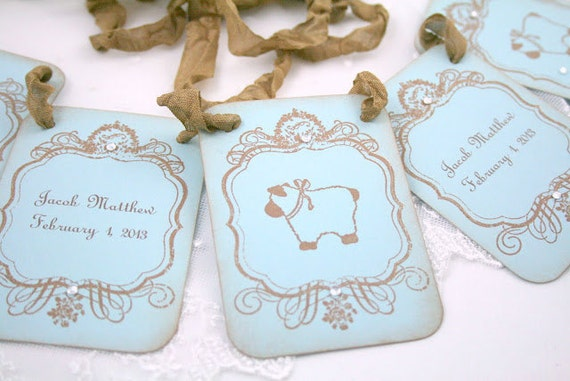 Baby Boy Shower Decor Banner Garland Bunting Photo Prop Vintage Lamb Vintage Blue Personalized