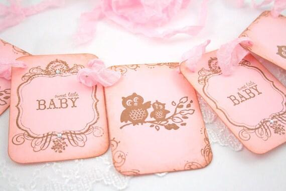 Owl Baby Shower Girl Banner Garland Photo Prop Vintage Pink