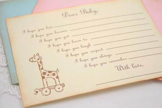 Baby Shower Wishes for Baby Game Activity Cards Fill in the Blanks Vintage Giraffe