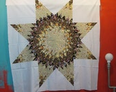 Brown floral prints make beautiful star quilt top, Star patchwork, 50x50 Inches.....Ready to ship