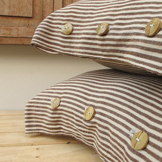 FREE SHIPPING Organic Cotton Cushion set, Decorated with Bamboo Buttons, Hand Woven and Hand Sewn