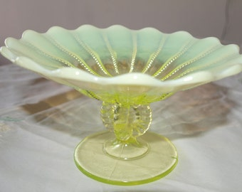 Vintage Canary Opalescent Tazza