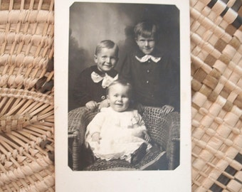 Edwardian Children Real Photo Postcard