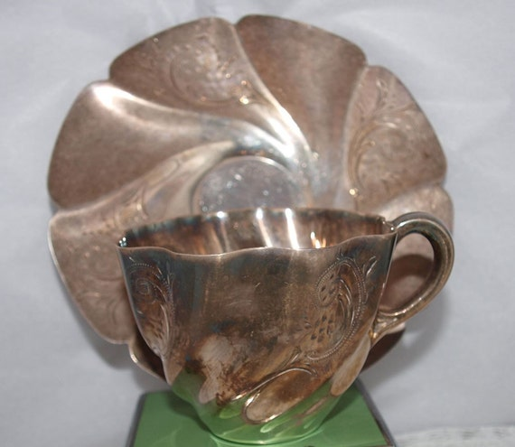 Antique Silverplate Cup and Saucer