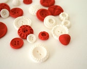 Cherry and Vanilla Red and White Candy Buttons 50 ...a handmade candy