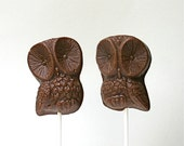 "Dark Chocolate Toffee, Wise Owl Pops. ""2"" of a feather."