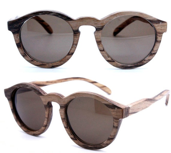 handmade round vintage zebra wood  wooden sunglasses 1104