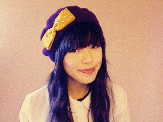 antoinette bow beret - purple with mustard yellow bow