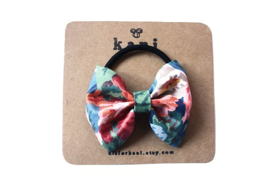 kizzles blue deluxe bow hair tie // ponytail holder elastic