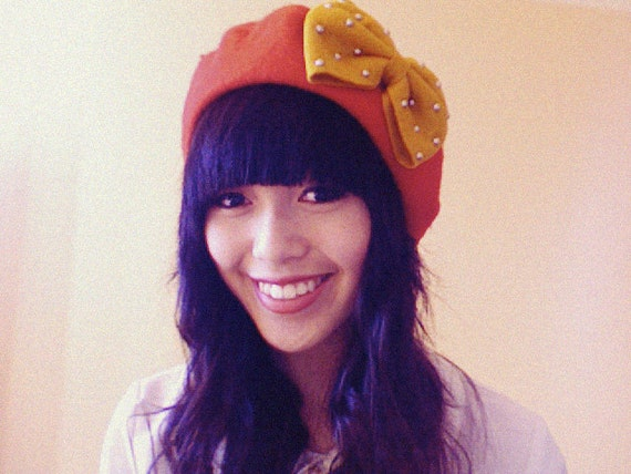 clementine bow beret - red with mustard bow