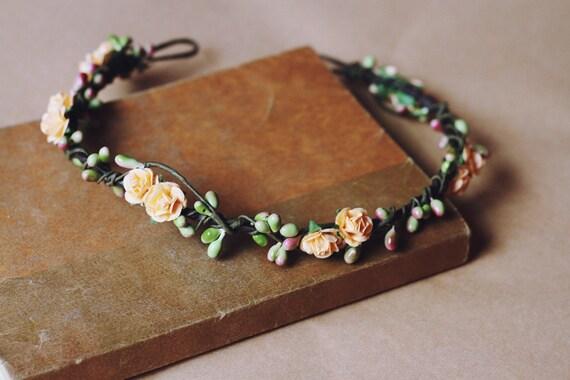 rustic love hair wreath (peach) - wedding headpiece, headband, vintage inspired rose crown, peach, dainty small ribbon tie.
