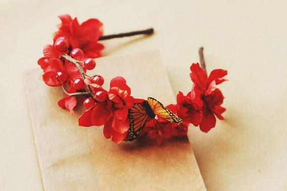 butterfly and red blossom headband - red floral headband, headpiece, nature inspired, whimsical, floral crown, monarch butterfly