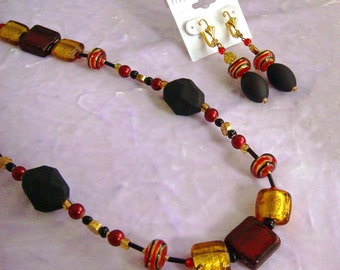 Price Reduced - Black, Gold and Red Jewelry Set 1113