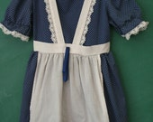 Blue & White Polka Dot Apron Dress, 4T