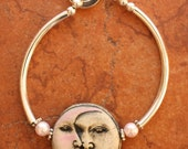 Pink Moon Face Signed Organic Bangle Bracelet OOAK