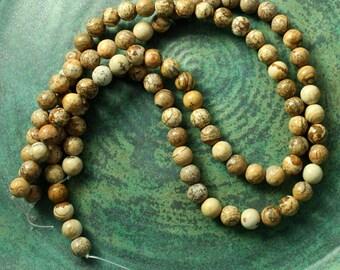 Full Strand 8mm Picture Jasper Round Beads