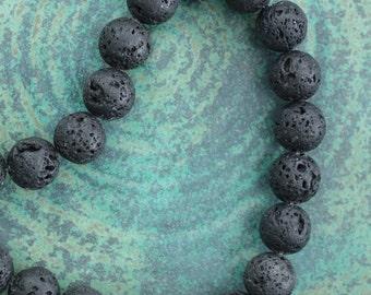 Black Round 8mm Lava Beads