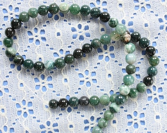 Full Strand 8mm Moss Agate Round