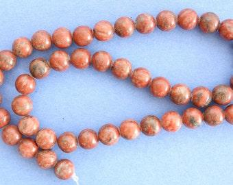 Red Sesame Jasper 8mm Round Beads