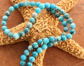 Full Strand Sky Blue Crazy Lace Agate 8mm Round