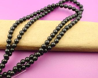 Full Strand 6mm Round Black Obsidian Beads
