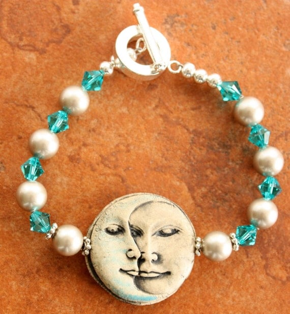 RESERVED LISTING Moon Face Bracelet Swarovski Pearls Crystals and Earrings Set