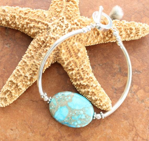 Blue Jasper Bangle Bracelet