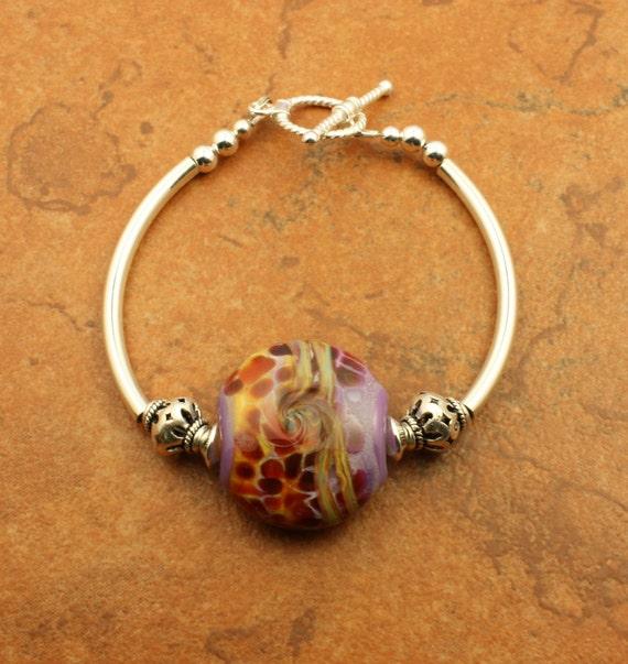 Purple  Lampwork Glass Bracelet OOAK Sterling Silver