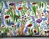 "Wildflowers & Butterflies  44"" X 18"" Body Pillow or  Bolster with Wildflowers PILLOW FORM INCLUDED"